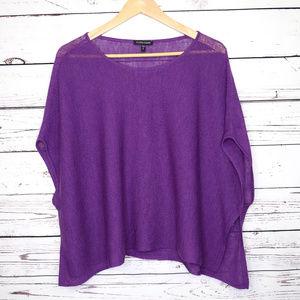 Eileen Fisher | knit purple sweater top cape shirt